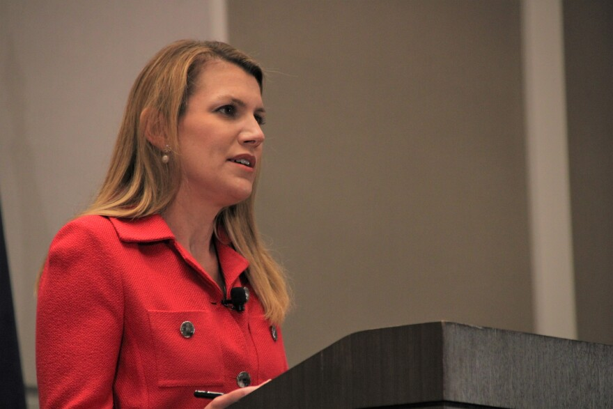 Amanda Adkins defended her donations to Cerner's PAC at a July debate. (Photo by Aviva Okeson-Haberman, Kansas News Service)