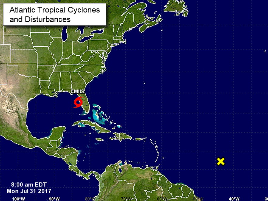 Tropical Storm Emily, in red, is shown off the coast of Florida in a graphic from the National Hurricane Center.