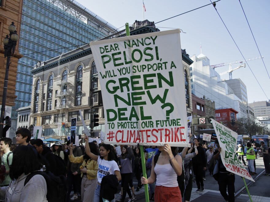 Students march during a protest on Friday in San Francisco. Students were skipping classes to protest what they see as the failures of their governments to take tough action against global warming.