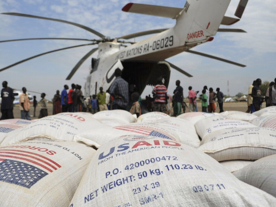 Food aid from the U.S. is delivered Thursday as part of efforts by the World Food Program to assist people displaced by fighting in the South Sudan state of Jonglei.