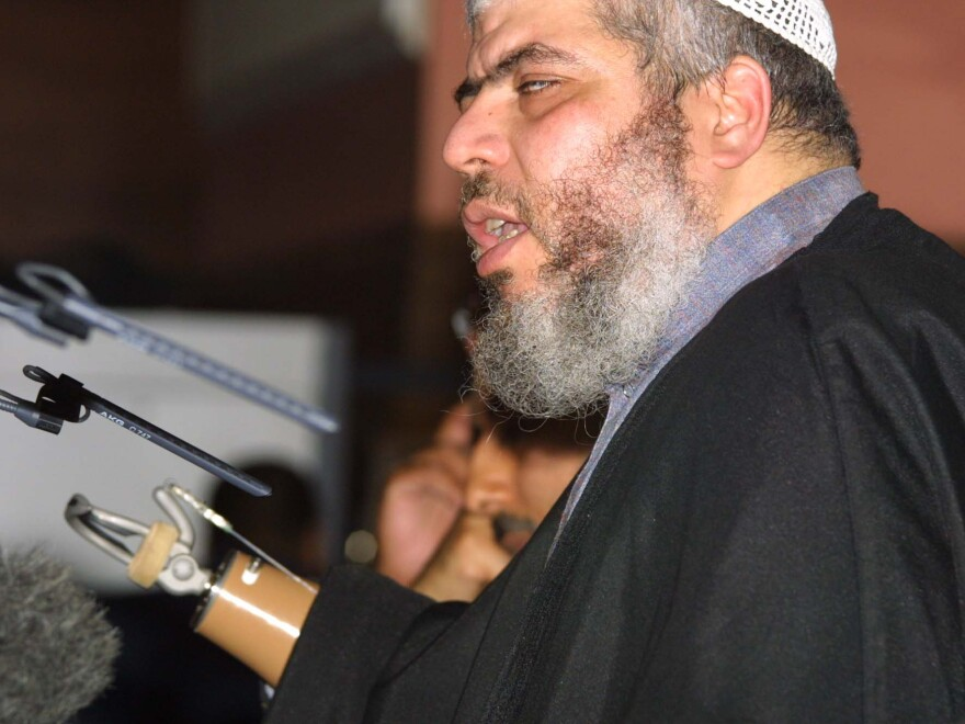 Abu Hamza al-Masri, also known as Mustafa Kamel Mustafa, at a 2002 fundamentalist Islamic conference in London, where he condemned what he called oppression of Muslims in the West. Masri was sentenced Friday in U.S. court to life in prison on terrorism-related charges.