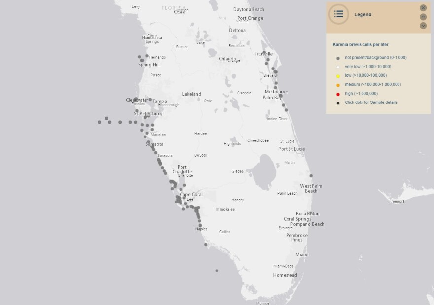 Map of current red tide status showing no elevated levels, as of Jan. 14.