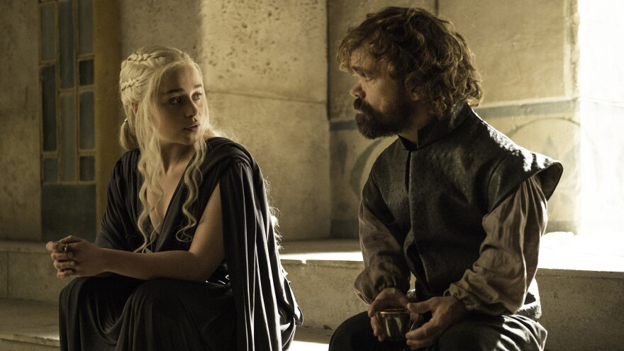 Emilia Clarke (left) and Peter Dinklage appear in Sunday's episode of HBO's <em>Game of Thrones.</em>
