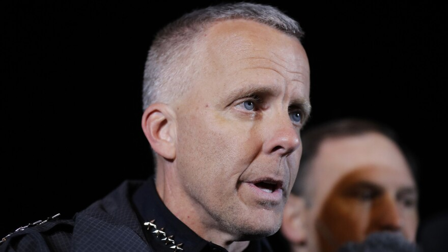 Austin's interim police chief Brian Manley briefs the media on March 21, 2018, in Round Rock, Texas. The suspect in a spate of bombing attacks that terrorized Austin blew himself up with an explosive device as authorities closed in.