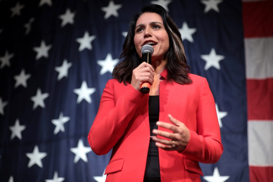 Photo of Tulsi Gabbard speaking into a microphone standing in front of an American flag.