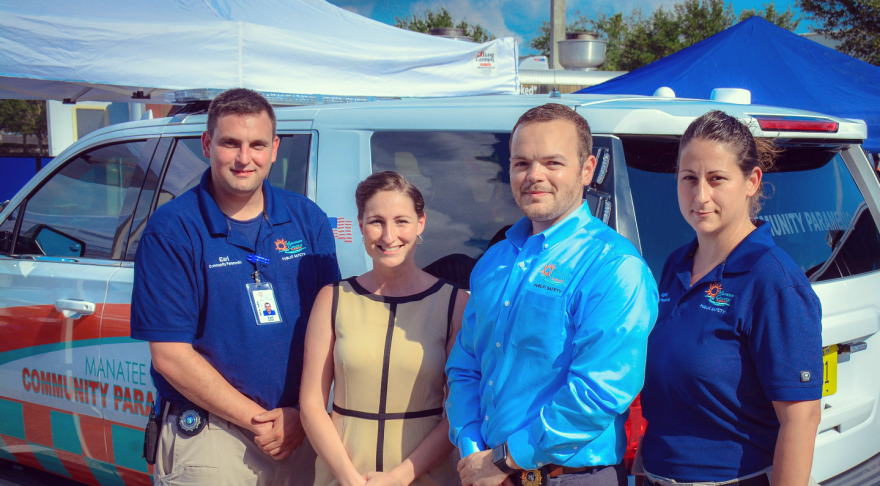 The Manatee County Paramedicine team, from left: Earl Kulpa, Community Paramedic; Dr. Victoria Reinhartz, LECOM Pharmacist; James Crutchfield, Chief of Community Paramedicine; Angela Hadlock, Community Paramedic