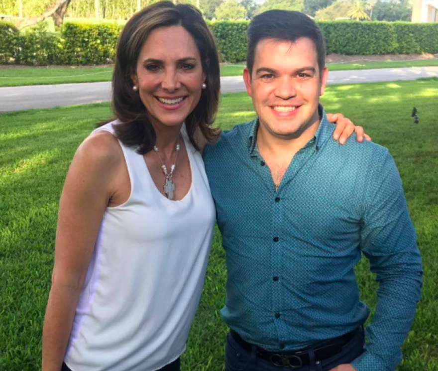 Colombian Congressman Juan David Velez (right) with Miami candidate Maria Elvira Salazar when he endorsed her first run for Congress in 2018