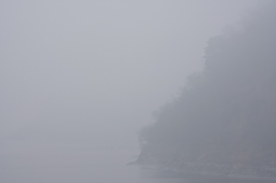 Fog shrouds the banks of the Imjin River in South Korea's Civilian Control Zone.