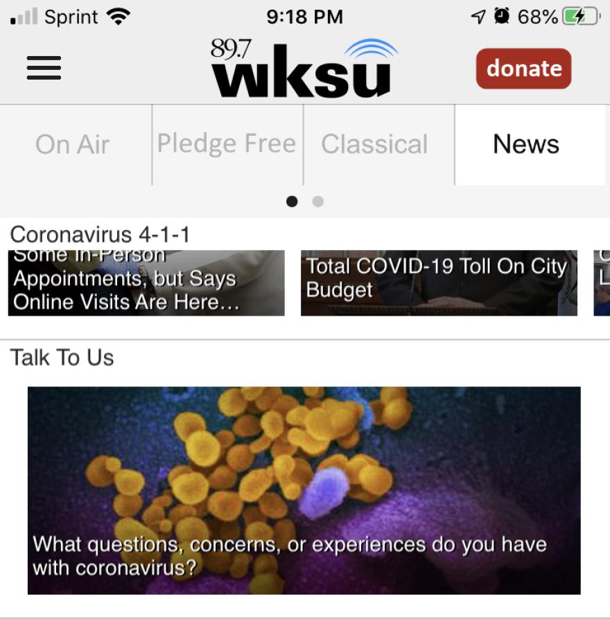 a photo of the WKSU app