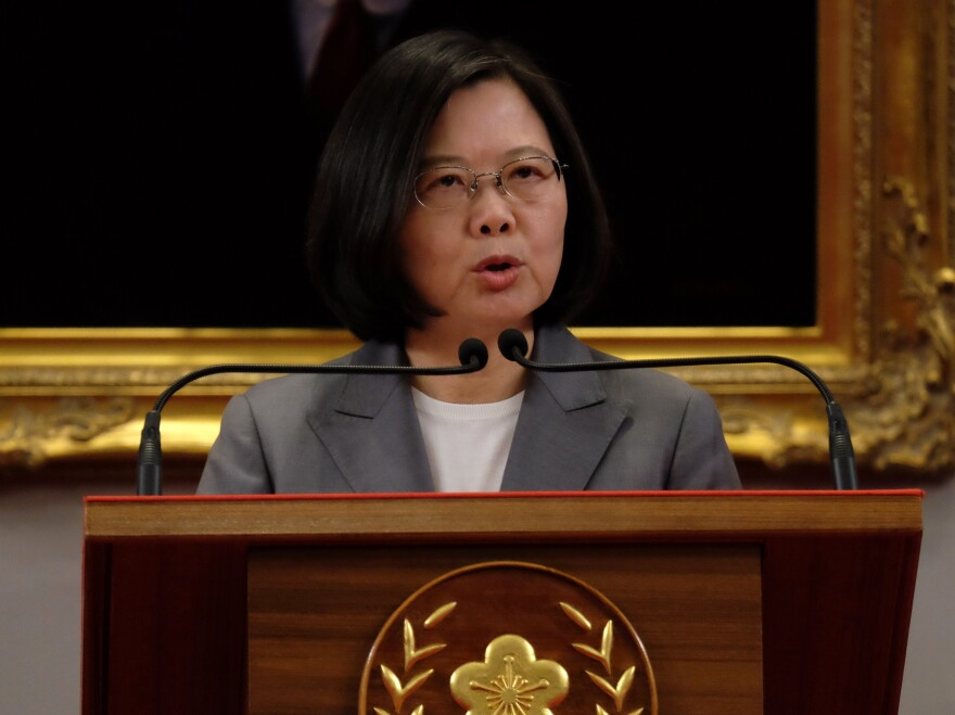Taiwan's President Tsai Ing-wen speaks during a news conference at the Presidential Office in Taipei on Aug. 21, after China and El Salvador established diplomatic relations.