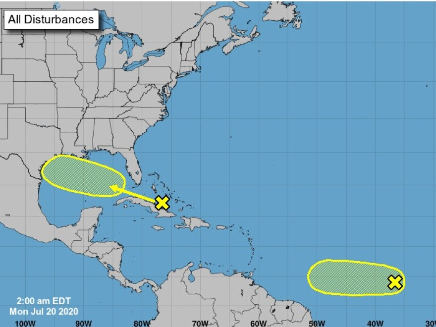 graphic of Two disturbances being monitored by NOAA