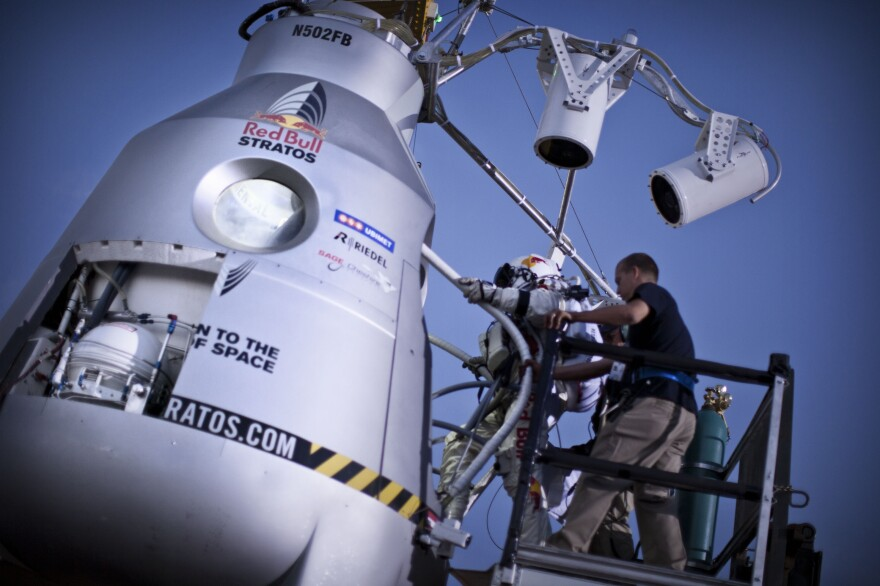 In this photo provided by Red Bull, Pilot Felix Baumgartner of Austria steps in the capsule during the second manned test flight for Red Bull Stratos in July.