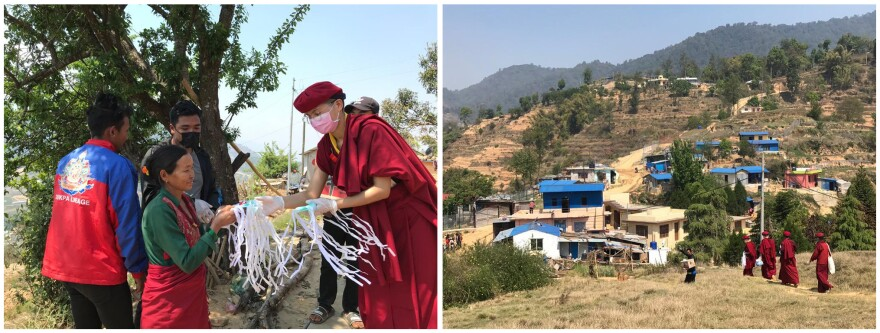 The nuns have played a role in addressing the coronavirus pandemic. Left: Delivering face masks and soap to at-risk communities in Kathmandu, Nepal, in April. They teach about the importance of handwashing and social distancing. Right: The nuns helped rebuild the houses with blue roofs after the 2015 earthquake. They have been checking in with these villagers during the lockdown.