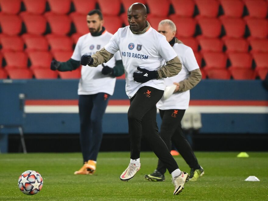 "Istanbul Basaksehir assistant coach Pierre Webo, along with players on both Basaksehir and Paris Saint-Germain, wore t-shirts on Wednesday that said ""No To Racism""."