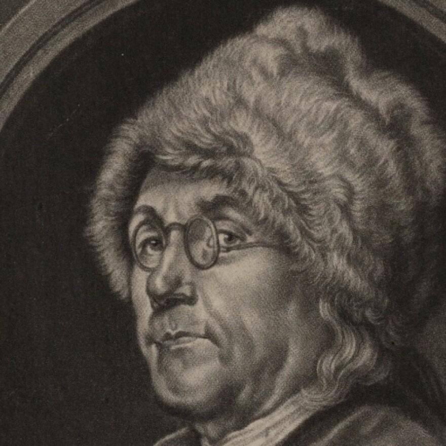 Ben Franklin in a fur hat.