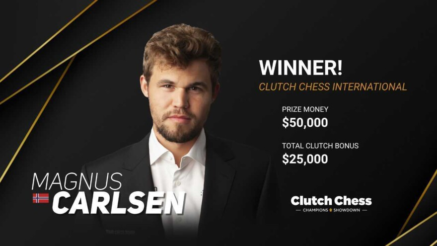 World Champion Magnus Carlsen Clutch won the Chess International at the St. Louis Chess Club.