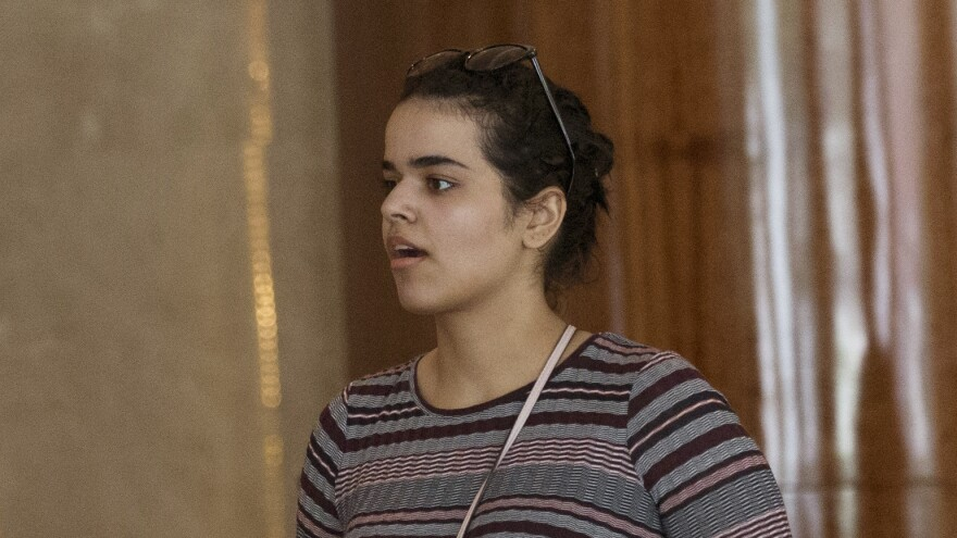 Rahaf Mohammed Alqunun is said to have boarded a plane Friday in Bangkok en route to Canada, where she has been granted asylum.