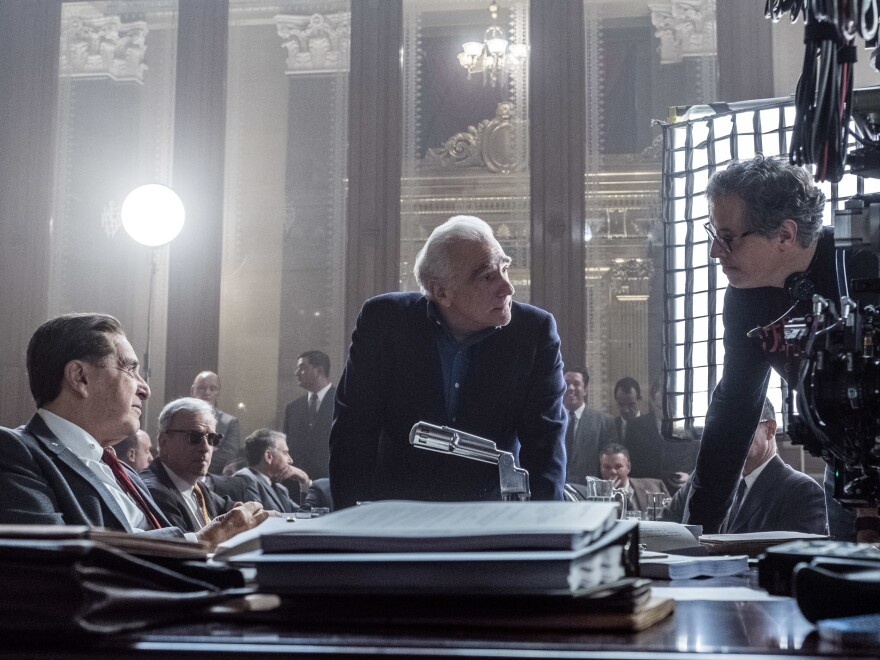 Martin Scorsese (center) has been nominated for an Academy Award for best director for<em> The Irishman.</em> The film is up for 10 Academy Awards, including best film.