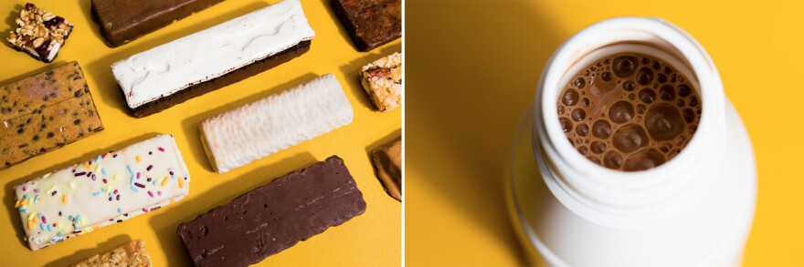 Protein supplements come in a variety of forms including protein bars (left) and protein shakes (right).
