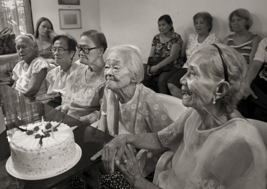 Felicidad delos Reyes (from left), Estela Adriatico, Estelita Dy, Remedios Tecson and Narcisa Claveria celebrate Tecson's and Dy's 89th birthdays on April 27, 2019, at the offices of Lila Pilipina — the League of Filipino Women. Delos Reyes died on Feb. 1, 2020.