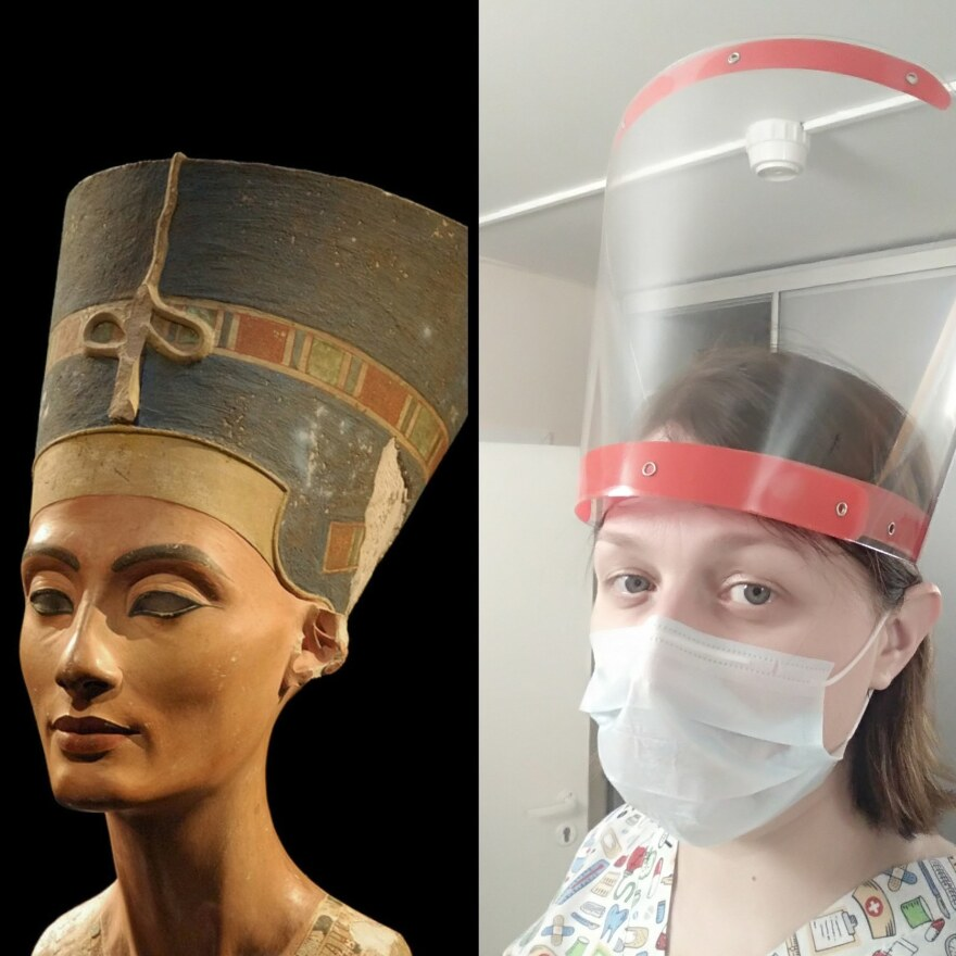 Olga Blytova, an oral surgeon based in St. Petersburg, Russia, created a self-portrait inspired by a statue of ancient Egypt's Queen Nefertiti.