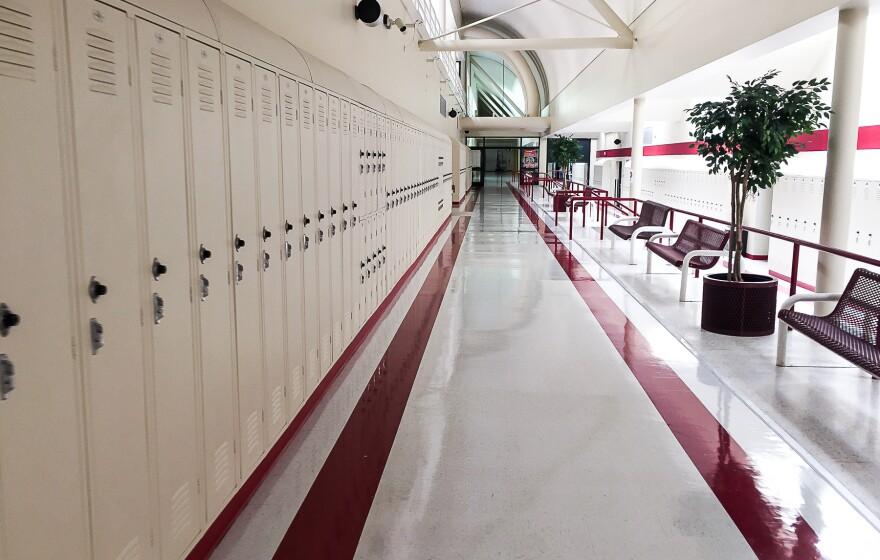 Photo of school hallway with lockers.