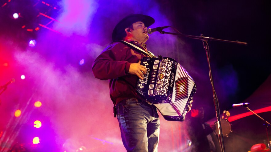 Ricky Munoz, the lead singer of Intocable, a popular Texas border band, performs in Juarez, Mexico.