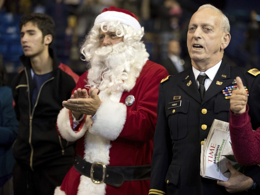 Santa Claus attends a Trump thank you tour event in North Carolina on Dec. 6.