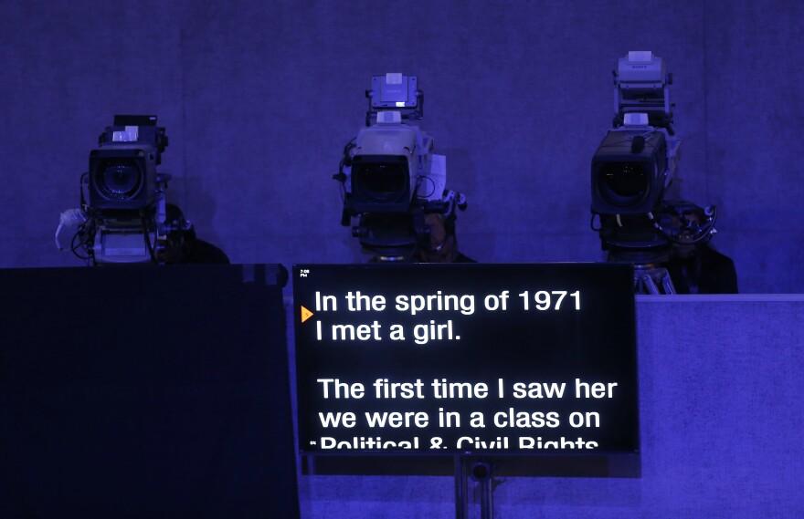 A teleprompter shows the beginning of Bill Clinton's speech.