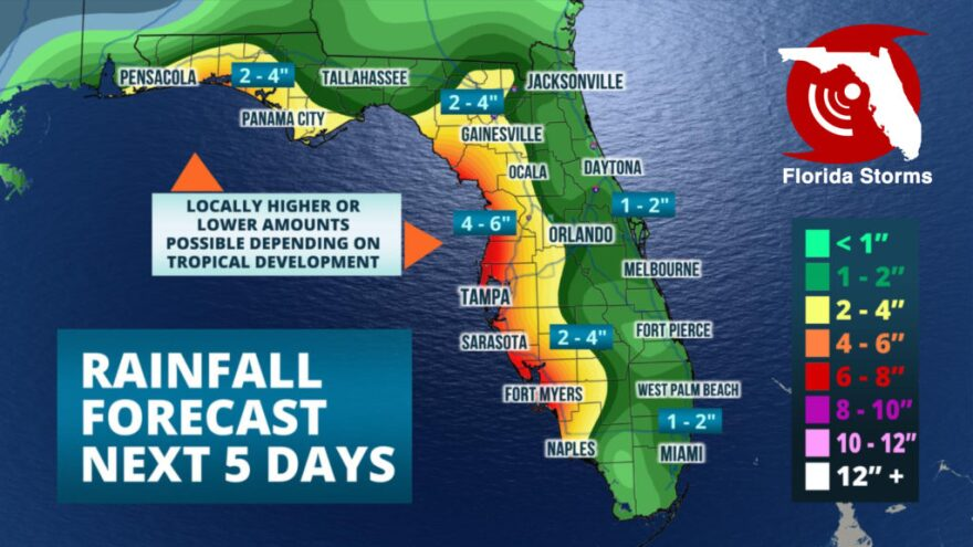 Heavy rain and potential flooding is in the forecast this week across parts of Florida, and a tropical storm might even form nearby.