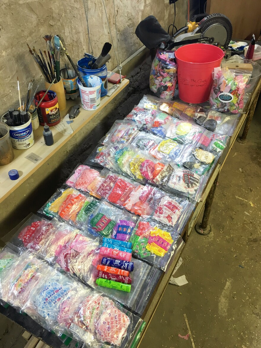 At Brown's studio in Philadelphia, he stores candy wrappers by kind and color in Ziploc bags.