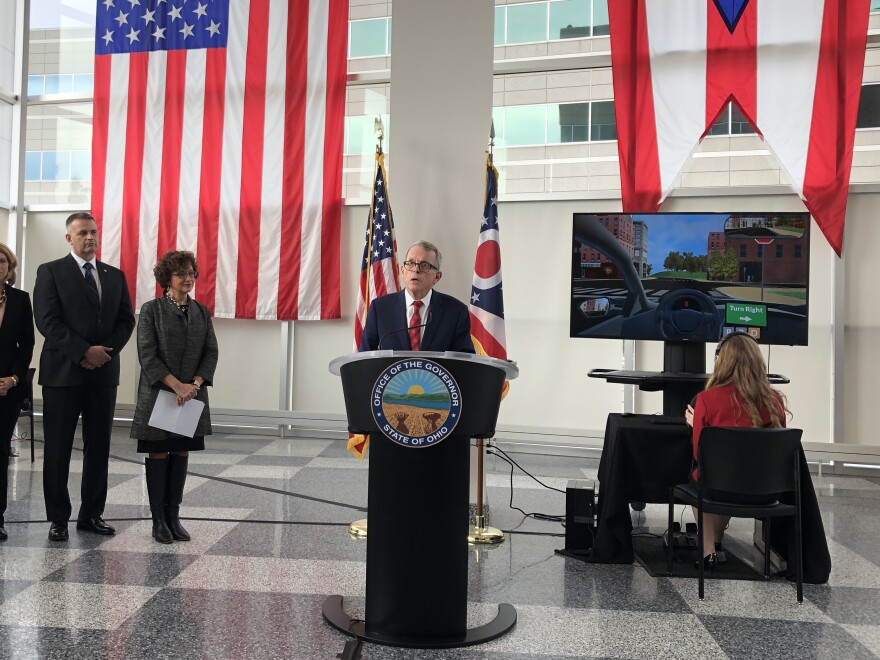 Gov. Mike DeWine announces the simulated driving program