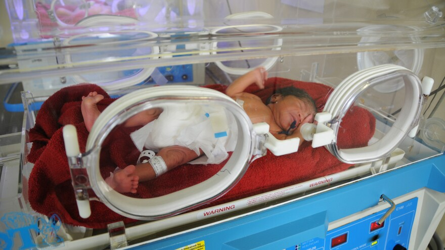 Newborn in an incubator at Greytown Hospital in South Africa in 2009.