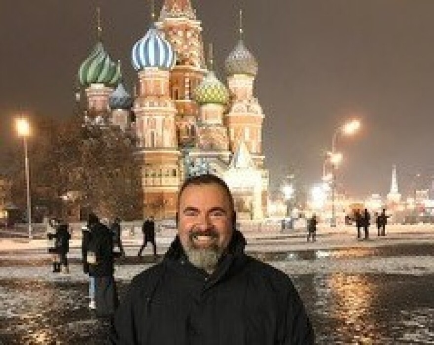 Marc Polymeropoulos, a senior CIA official, photographed in Moscow's Red Square in 2017. He fell ill on that trip and has since suffered debilitating migraine headaches that led him to resign from the agency.