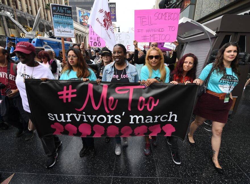 Survivors of sexual harassment, sexual assault and sexual abuse and their supporters protest during a #MeToo march in Los Angeles in November. Moira Donegan revealed herself as the creator of an anonymously sourced list of men who work in media and are accused of sexual misconduct.