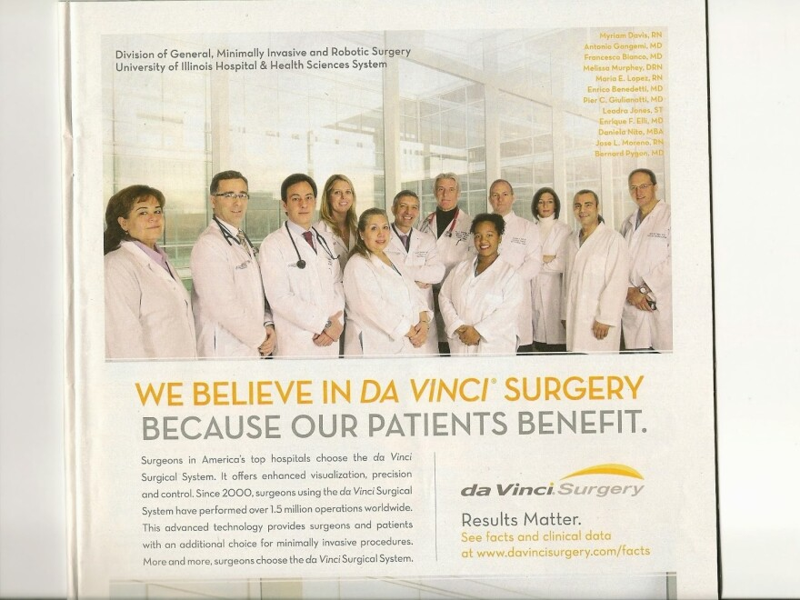 This advertisement for the da Vinci surgical robot led former hospital executive Paul Levy to ask the University of Illinois Hospital and Health Sciences System about its role in marketing the high-tech device.