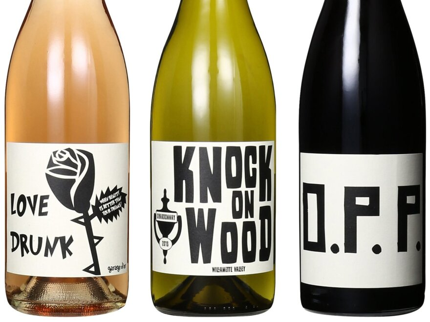 Love Drunk, Knock on Wood, and O.P.P. are three of Mouton Noir's popular wines.