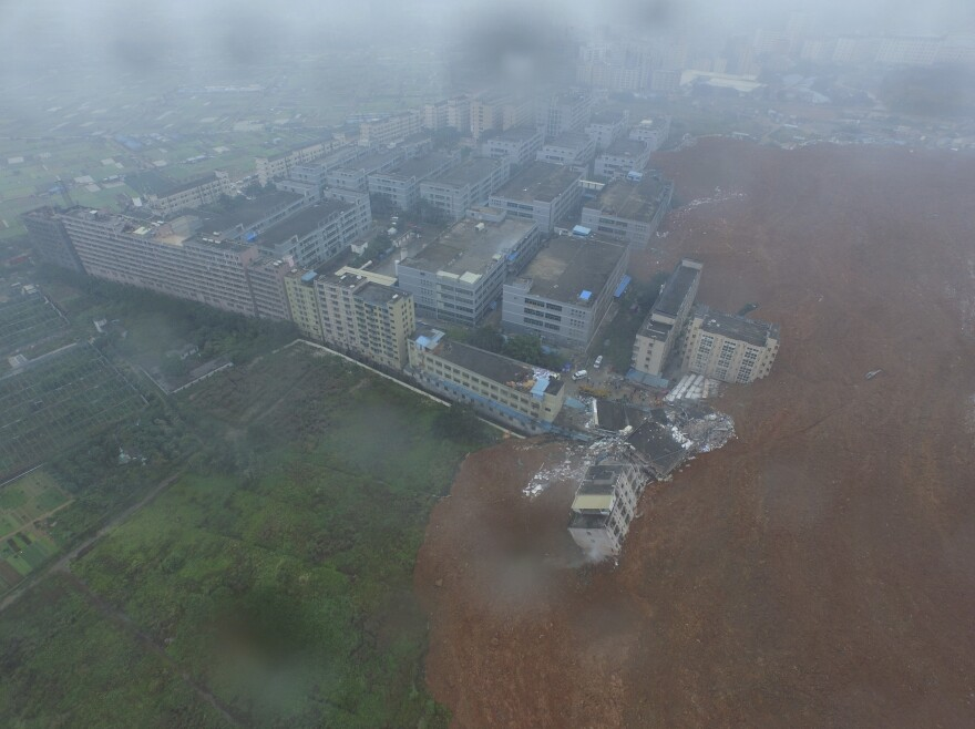 An aerial view shows the site of a landslide at an industrial park in Shenzhen, Guangdong province, China, on Sunday.