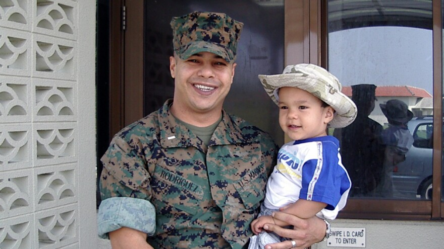 Ernesto Rodriguez and his son, Sebastian, when Sebastian was 2 years old.