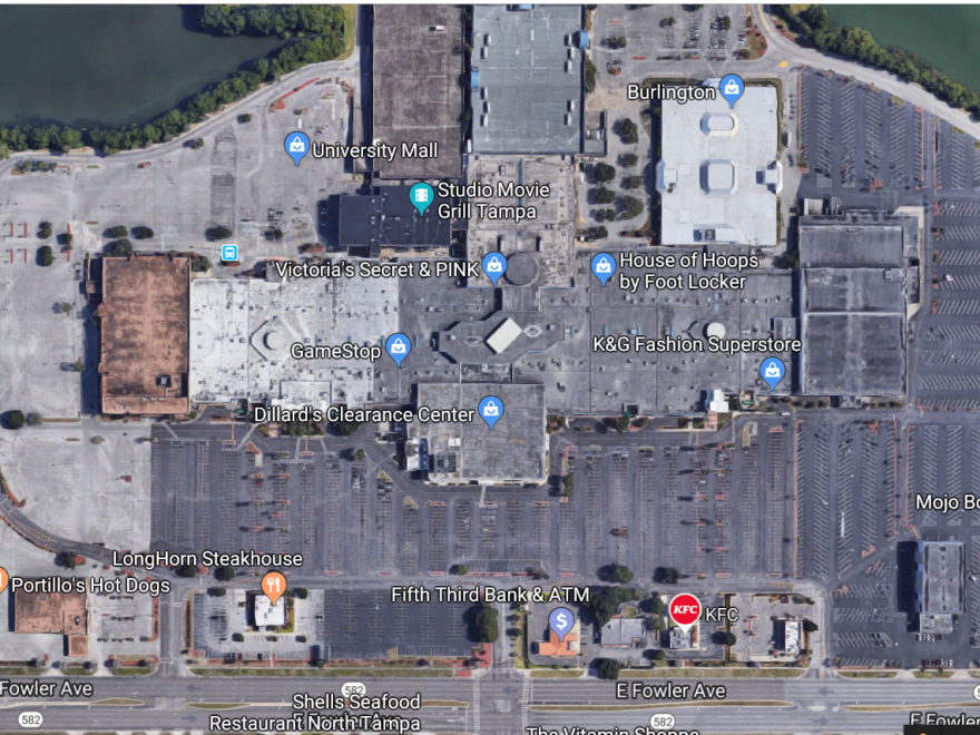 Aerial view of University Mall in Tampa.