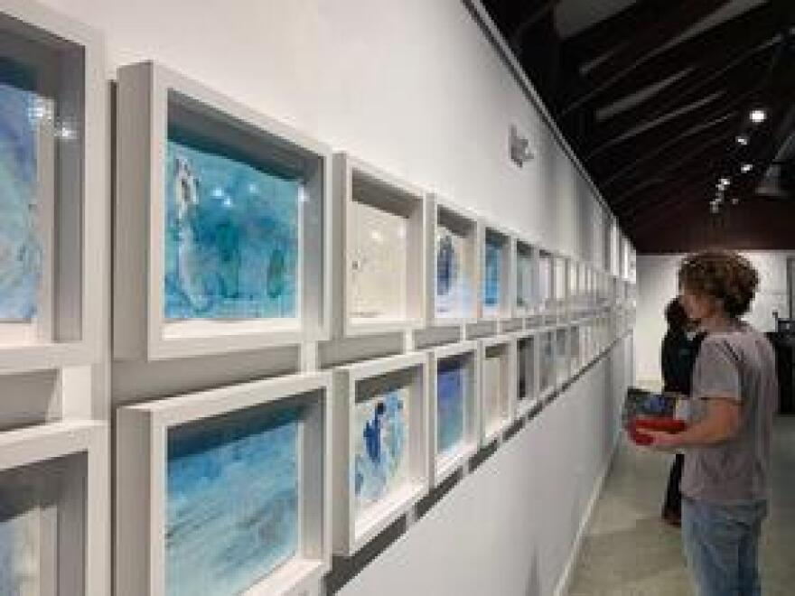 Xavier Cortada's art hung on the walls inside of Pinecrest Garden's Hibiscus Gallery where the Underwater Housing Association took place.