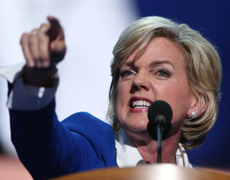 Former Michigan Gov. Jennifer Granholm making one of her points Thursday at the Democratic National Convention.