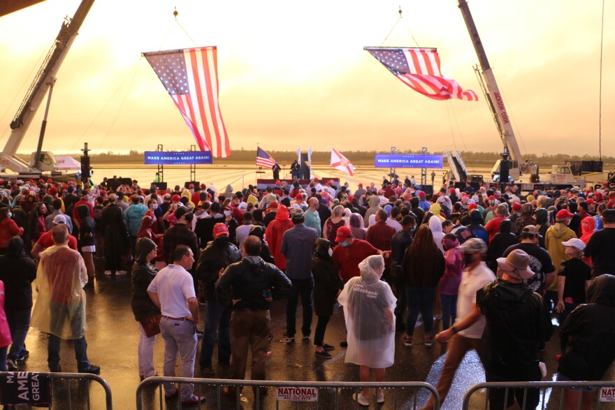 As the rain subsided Saturday evening, hundreds of supporters waited to hear Vice President Mike Pence speak.