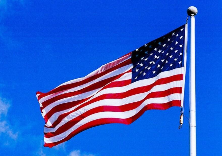 an American Flag flying