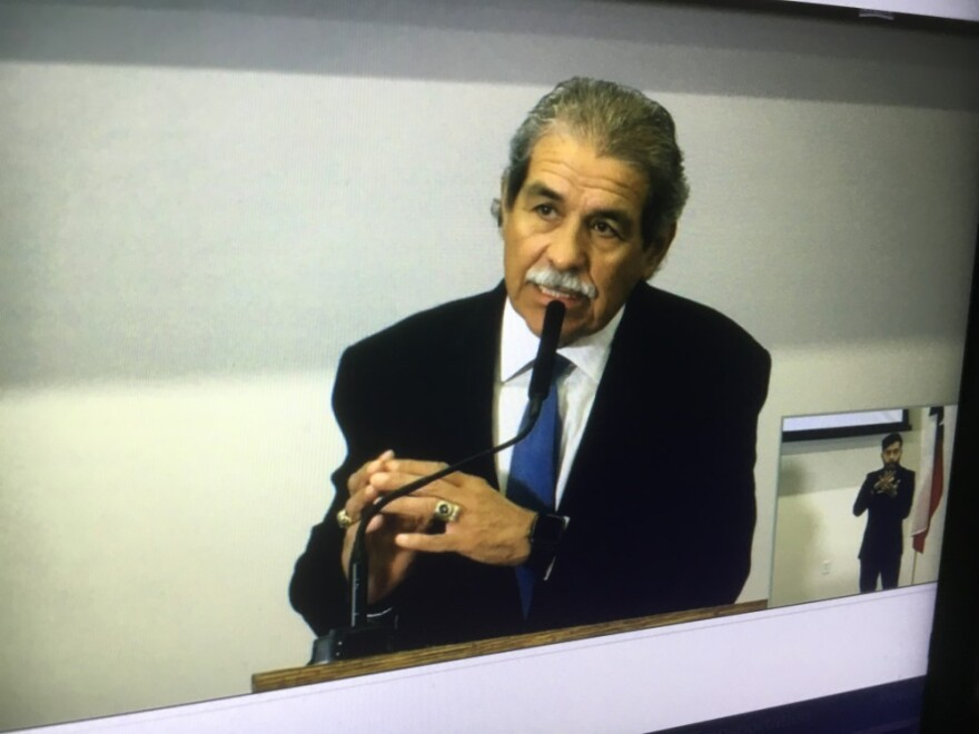 Screenshot of Michael Hinojosa on a video conference meeting with parents.