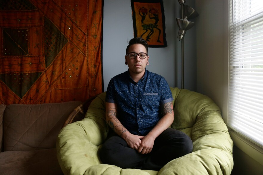 """Joaquín Carcaño, at his home in North Carolina in 2016. A transgender man, Carcaño was the lead plaintiff in a lawsuit brought against the governor of North Carolina to block HB2, the state's """"transgender bathroom law."""" The case settled last year after the law was repealed."""