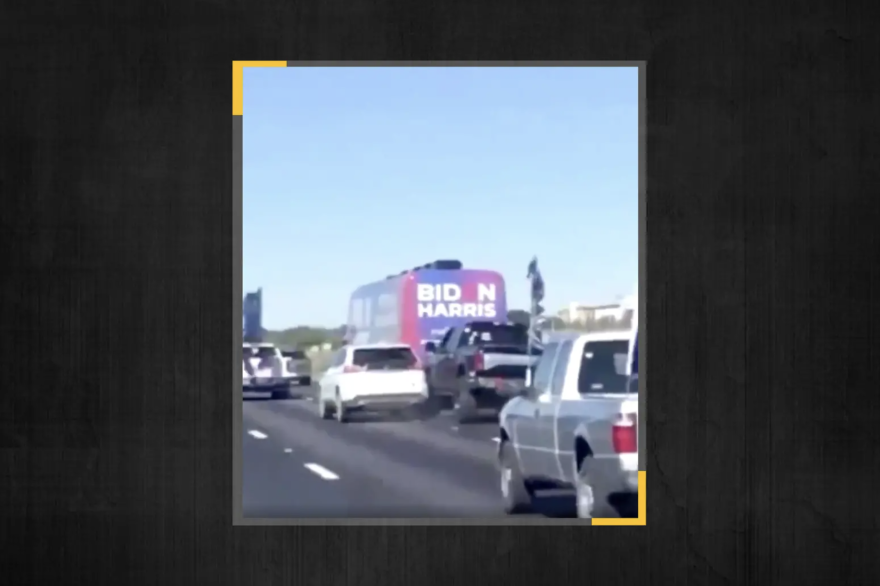 A Twitter user captured the moment a truck and vehicle collided on I-35 in Hays County on Friday.