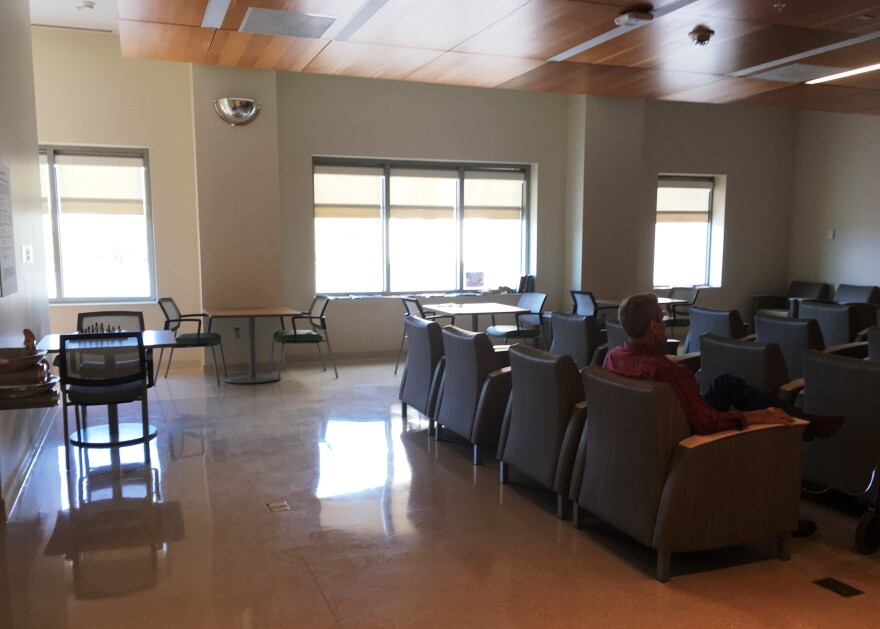 The main community room at the Bay Pines VA program where Gail Bethel organized the New Year's Eve party for staff and fellow military sexual trauma survivors.