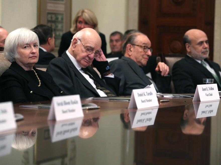 Former Federal Reserve Board Chairs Janet Yellen, Paul Volker, Alan Greenspan and Ben Bernanke.