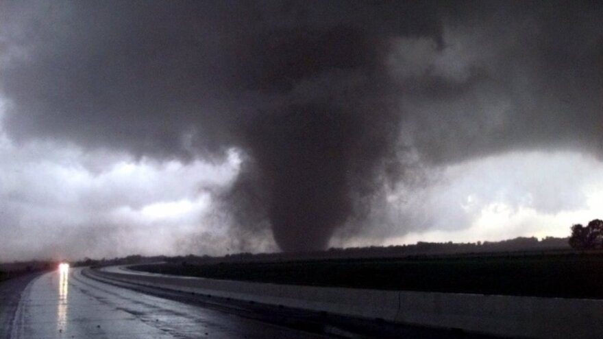 This May 3, 1999, funnel became the F-5 storm that damaged thousands of buildings in central Okahoma. University of Oklahoma storm chasers and observers are anticipating the annual tornado season as it approaches the central part of the country.